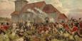 Fra kampene ved Prestebakke kirke i Halden juni 1808, der musketér Ole Svendsen Illerød fra Aremark deltok. Akvarell av Andreas Bloch (1860-1917).