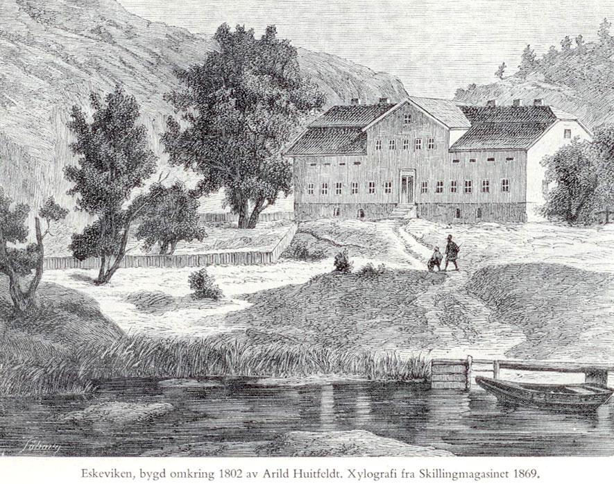Eskeviken, fra boken Halden - festningen og byen. Originalt xylografi fra Skilling-Magazin 1869.