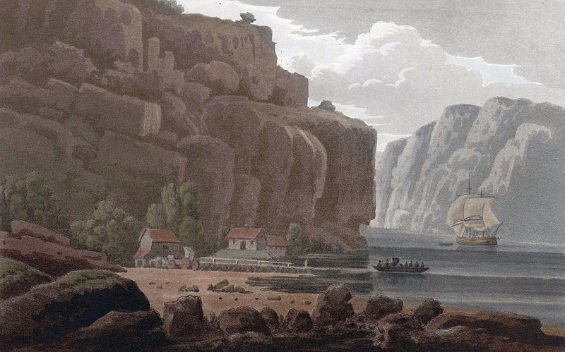 Svinesunds færge, Norske Siden. Ca. 1800. Kunstner: John William Edy.