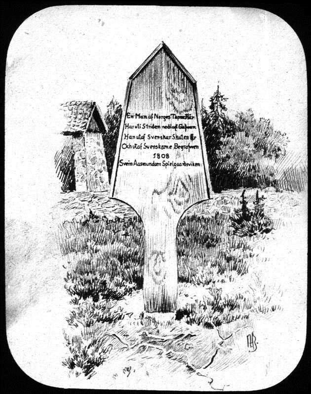 Andreas Blochs tegning av gravminnet over Spielgaardsvigen