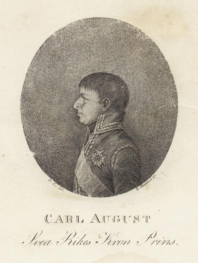 Da Christian August aksepterte tilbudet om å bli svensk kronprins tok han navnet Carl August. F. I del. E. Åkerrland se. Halden historiske Samlinger.