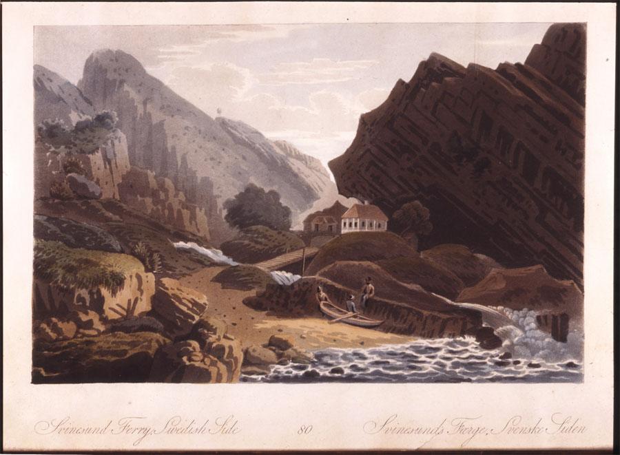 "John William Edy (1760-1820). Reiste i Norge 1800. Trykt i John Boydells ""Picturesque Scenery of Norway» i 1820. Svinesund svensk side. Halden historiske Samlinger"