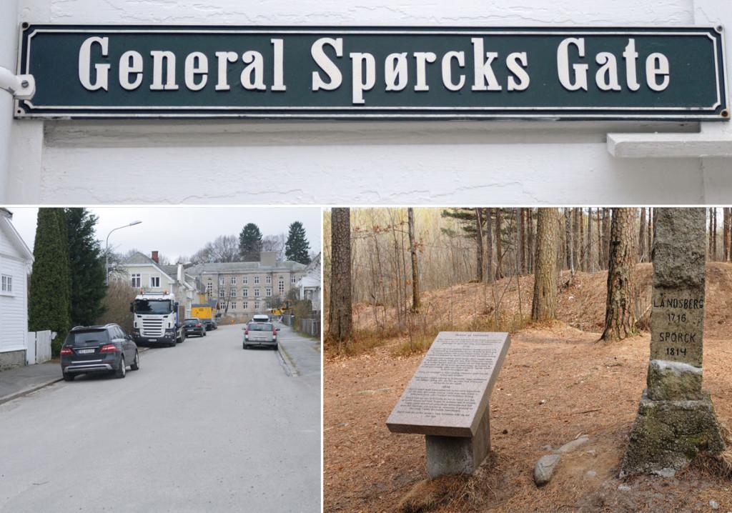 General Spørcks gate ligger på Os i Halden. Spørck forsøkte å stoppe invasjonen ved Vedenvadet i 1814 uten å lykkes. Alle foto: Svein Norheim