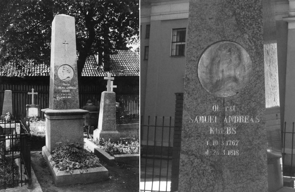 Gravstøtte på Krist kirkegård i Oslo over Andreas Samuel Krebs. Til venstre: Wikimedia Commons . Foto: Olaf Martin Peder Væring. Til høyre: Creative Commons Attribution Foto: Stig Rune Pedersen