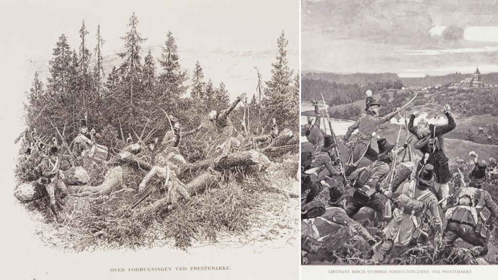 Til venstre: Forhugninger forseres av de norske styrkene under angrepet på Prestebakke. Til høyre:  Løytnant Birch og hans menn angriper de svenske forskansningene på Prestebakke. Kaptein Arild Huitfeldt ledet angrepet. I bakgrunnen Prestebakke kirke som ble en krigsskueplass. Ill: Andreas Bloch