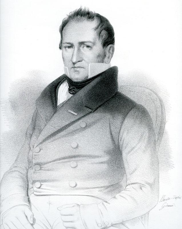 Johan Gunder Adler. Litografi. Ill.: Llanta Pajores Giram. Halden historiske Samlinger