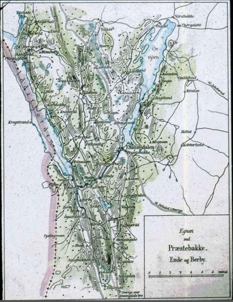 Kart over Enningdalen. Etter Henrik Angell.