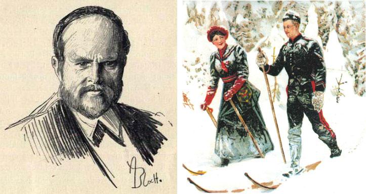 Andreas Bloch slo igjennom som portrettmaler. Til venstre portrett av Jacob Brede Bull. Til høyre ett av hans mange illustrasjoner fra norsk friluftsliv (1893).