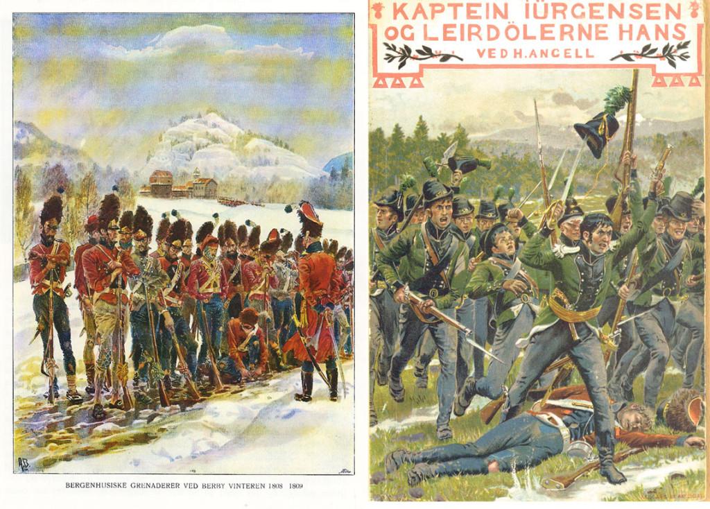 Henrik Angells bøker Syv-Aars-Krigen for 17de Mai 1807–1814 og Kaptein Jürgensen og Leirdølerne hans er rikt illustrert med Blochs flotte tegninger.