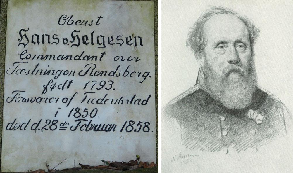Hans Helgesen født i Oslo i 1793 og døde 1858. Illustrasjon: Tegning af Niels Simonsen. Frederiksborg Museet. Han ligger begravet på Flensburg gamle kirkegård. Til høyre minneplate over Helgesen på kirkegården.