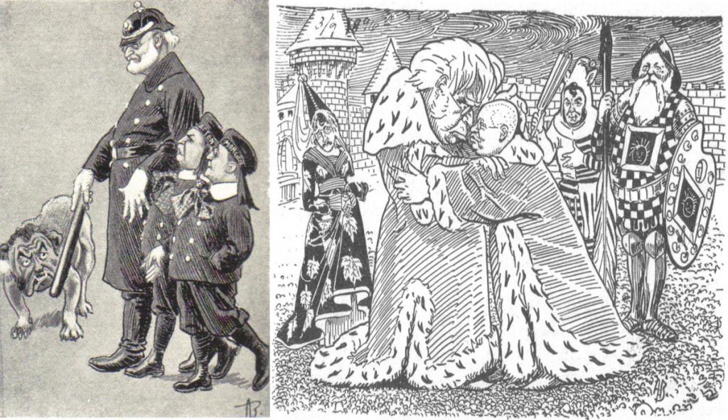 Andreas Bloch gikk ikke av veien for å kommentere politiske situasjoner. Til venstre en karikatur i Vittighetsbladet i 1905, og til høyre «Kongen og Hans Majestet». Wikimedia Commons. Han leverte mange illustrasjoner til andre vittighetsblader som Korsaren, Tyrihans, Krydseren og Vikingen.