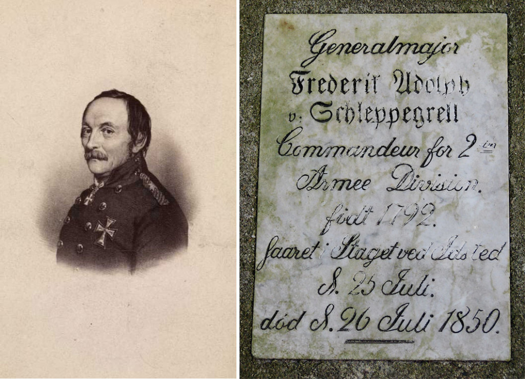 Frederik Wilhelm Schleppegrell født 1792 i Brunla ved Larvik. Døde etter skader i  slaget ved Isted 1859. Illustrasjon ukjent; Oslo museum. Til høyre minneplate på Flensburg gamle kirkegård.