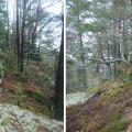 Ende skanse. Til venstre skansens SØ hjørne. Til høyre samme mur fra NØ. Foto: Svein Norheim