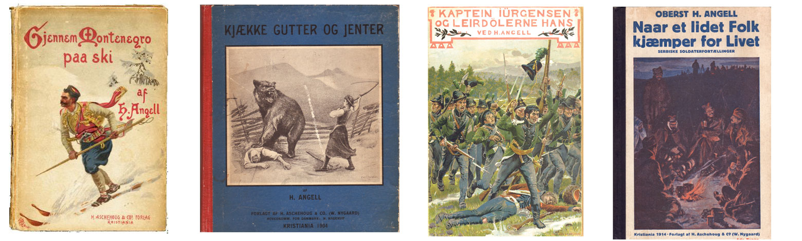 Bokomslag av et utvalg av Henrik Angells omfattende forfatterskap.
