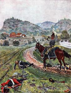 Frå kampene på Berby. En av Andreas Blochs illustrasjoner gjengitt i H. Angells bok:«Syv-Aars Krigen for 17de Mai 1807-1814».