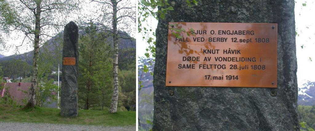 Bautasten reist i Volda som minne fra krigen 1808. Foto: Krigsminnesmerker i Norge. CC 3.0