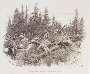 Fra kampene på Prestebakke 10. juni 1808. Forhugningene forseres.  Illustrasjon: Andreas Bloch