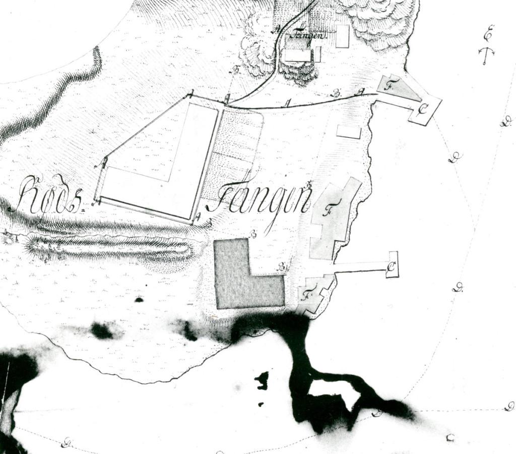 Sjøbatteriet på Rødstangen. Kart fra Geografisk oppmåling. Kopi ved Halden historiske Samlinger