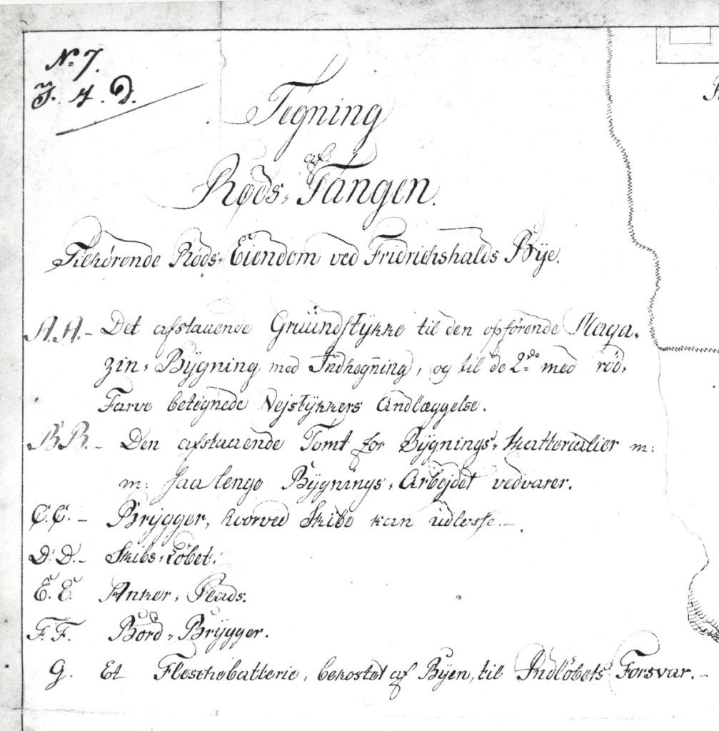 Sjøbatteriet på Rødstangen. Detalj av tekstdelen av ovenstående kart fra Geografisk oppmåling. Kopi ved Halden historiske Samlinger
