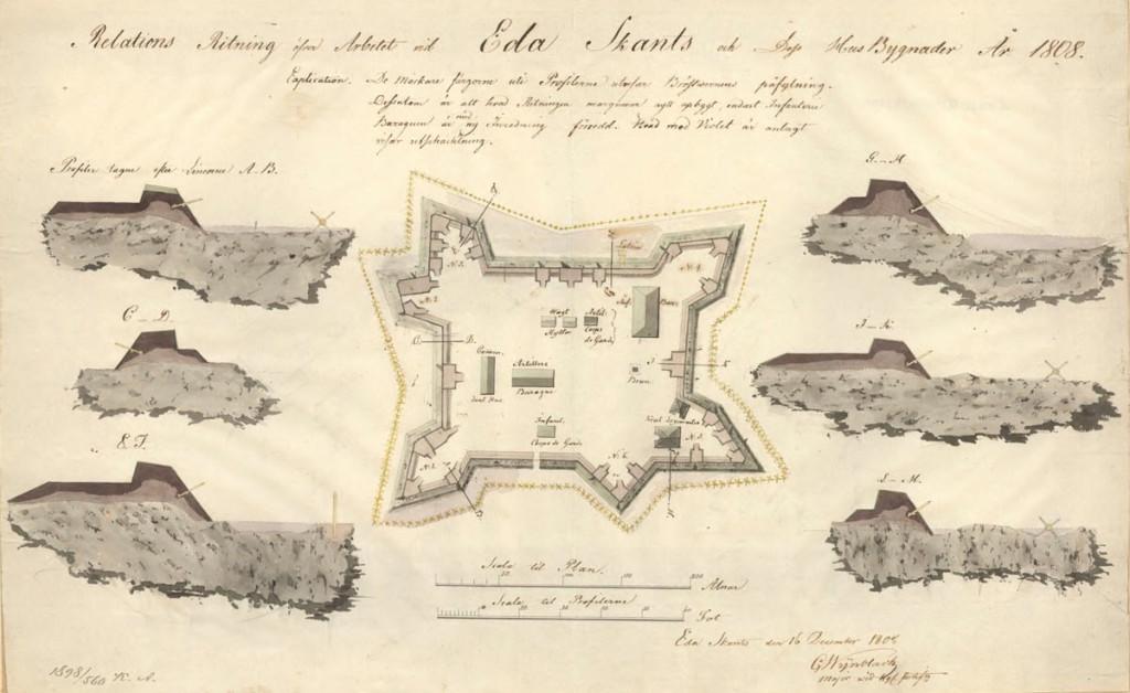 Hovedskansen på Eda skans tegnet av Carl Elias Wijnblad i 1808. Fra Krigsarkivet i Stockholms innholdsrike arkiver: