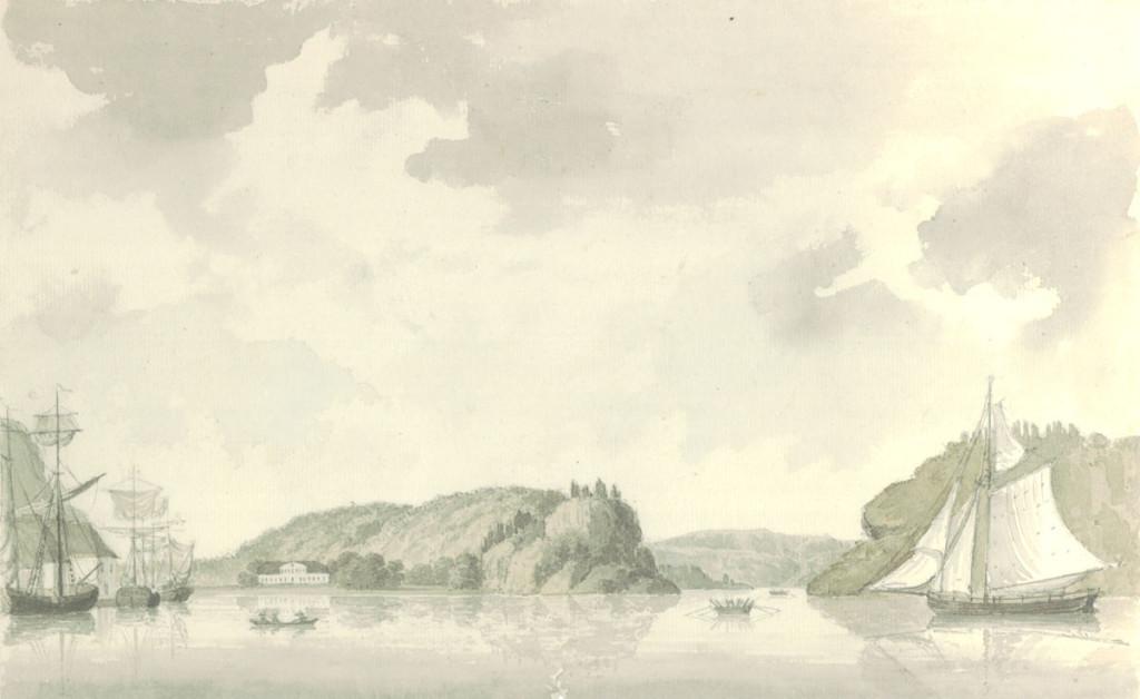 Gustaf Lewenhaupt: Vüe från Fredrikshalds Hamn. Eskeviken til venstre.  Udatert tusjlavering, trolig fra 1814. Västerås stadsarkiv
