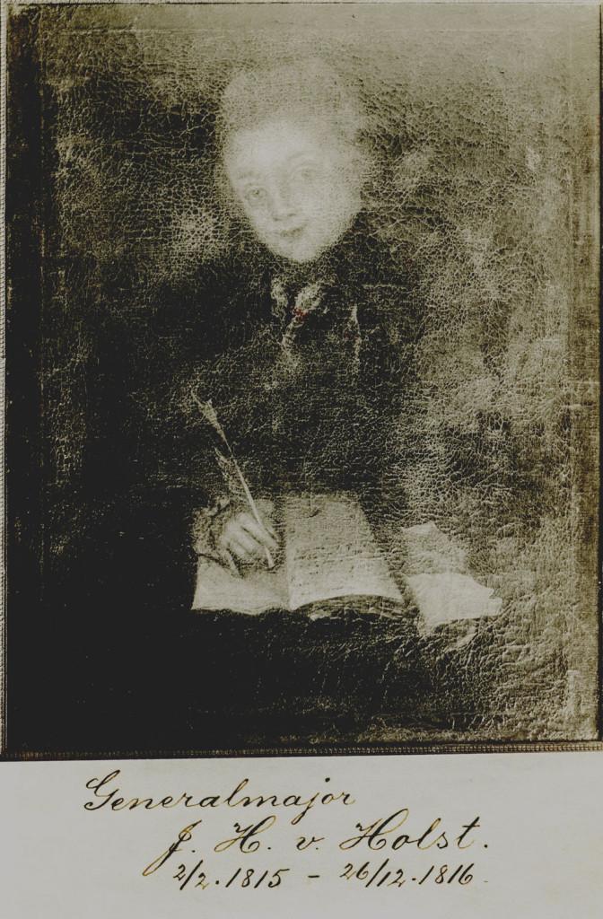 Et ungdomsportrett av Johan Hübner i hans yngre dager. Detter er fra portrettarkivet over kommandantene på Fredriksten festning. Haldens Minders museum/Halden historiske Samlinger.