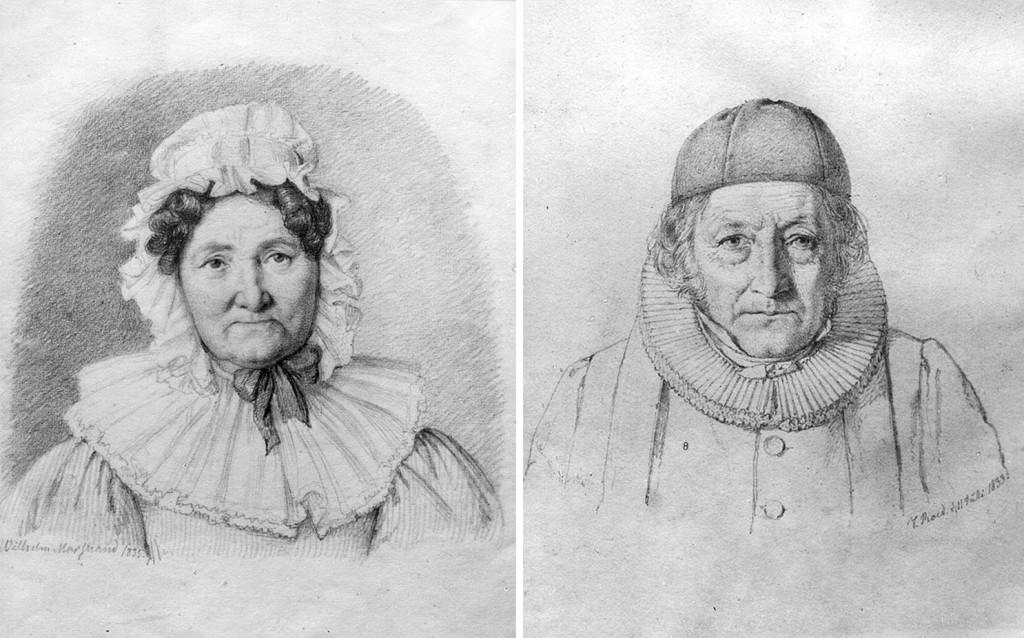 Margrethe Elisabeth Schnitler, Brostrup Müllers søster, ble gift med Hans Landstad. Ill: Marstrand, Wilhelm (til v.) og J. Roed (tl h.). Norsk portrettarkiv, Riksantikvaren