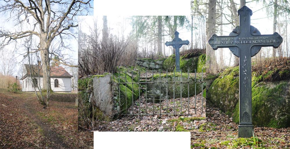 Schnitlerhytta i dag tatt fra omtrent samme ståsted som Gjøs med sitt maleri ovenfor. I midten og til høyre Schnitlers gravsted. Foto: Svein Norheim.