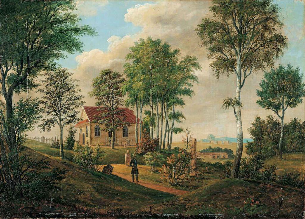 «Hytten» eller Schnitler-hytten malt av Ferdinand Gjøs antagelig på 1830-tallet. Seinere fikk den navnet «Roligheden». Foto: Kaare Berntsen AS.