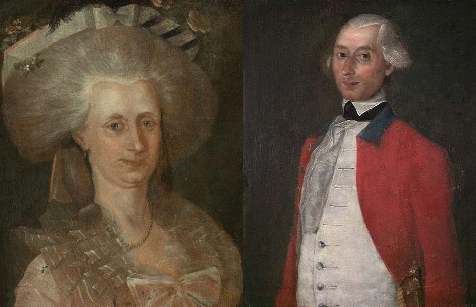 Johan Peter Vosgraff og hustru Anne Hellene f. Knap. Ill: Heinrich Christian Friedrich Hosenfelder. Nasjonalmuseet for kunst.